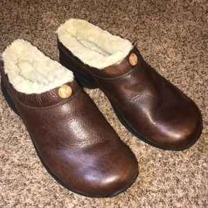 Merrell Brown Leather Clogs Size 9